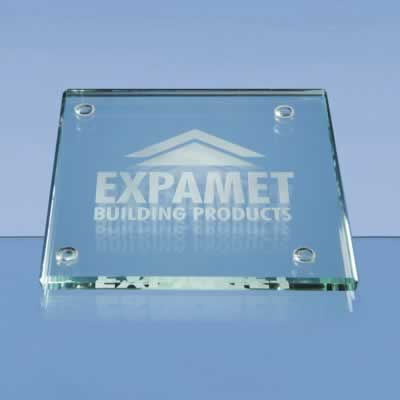 10cm Jade Glass Square Coaster