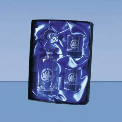 The set includes a Round Mini Decanter, 2 Hot Shot tot glasses and a satin lined presentation box.