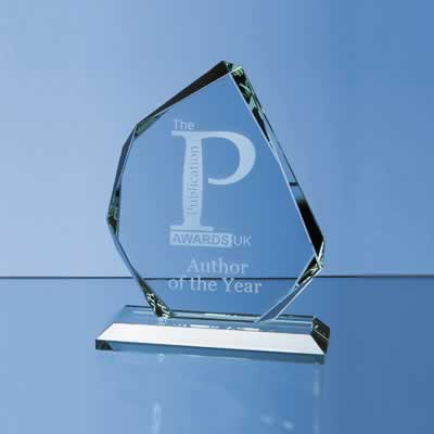 The sleek and stylish award is crafted out of 15mm thick jade glass and mounted on a rectangle base.